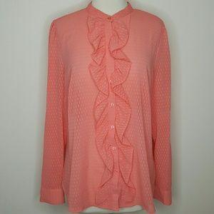 💗 Coral Orange button-down ruffled blouse